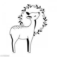 Sello Madera - Cervatillo corona - 5,6 x 4,4 cm - Fotografía n°1