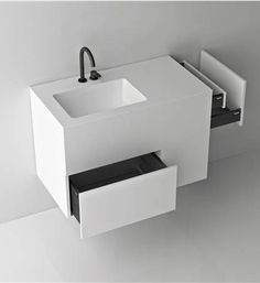 Boffi / Quadtwo_Jeffrey Bernett, made in corian and perfect for a guest bathroom.