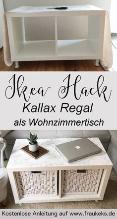 IKEA HACK - living room table from the Kallax shelf - - . IKEA HACK - living room table from Kallax shelf - - Kallax Ikea Hack, Etagere Kallax Ikea, Ikea Kallax Regal, Kallax Shelf, Small Living Room Table, Bedroom Hacks, Living Room Hacks, Bedroom Ideas, Diy Casa