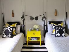 Eclectic Black and Yellow Guest Room