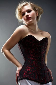 Exclusive long brocade corset black blue red green by Corsettery