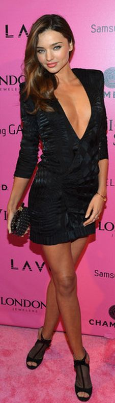 Who made  Miranda Kerr's black v neck dress, black mesh shoes, and clutch handbag that she wore in New York?