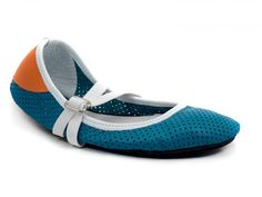 Turquoise and Orange Soft Star Ballet Flat, Handmade in USA