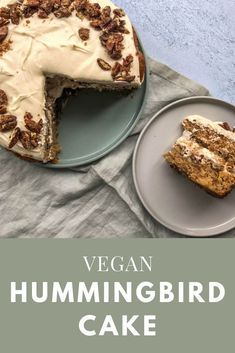 H U M M I N G B I R D C A K E ⠀ This one is a real treat! The cake is packed with pineapple, banana, pecans and subtle spices then it's layered with a vegan cream cheese frosting and candied pecans. You are in the right place about … Vegan Dessert Recipes, Cake Recipes, Cooking Recipes, Vegan Cream Cheese Frosting, Cream Frosting, Vegan Art, Patisserie Vegan, Cake Vegan, Vegan Apple Cake