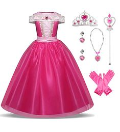 Little Girls Princess Aurora Costume Halloween Party Birthday Dress Up Cosplay Outfit Princess Costumes For Girls, Little Girl Princess Dresses, Disney Princess Toys, Disney Princess Dresses, Girls Dress Up, Princess Aurora, Princess Jasmine, Aurora Costume, Pink Costume
