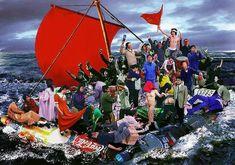 """Hu Jieming, 'Raft of the Medusa', 2002 after géricault """"le radeau de la méduse"""" Newark On Trent, Salon Pictures, Appetite For Destruction, Grey Pictures, Famous Artwork, Rocky Horror, Funny Art, Medusa, Rafting"""