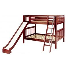 Full over full bunk bed with slide, available in mahogany and white.