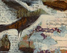 Crow Fly Original Mixed Media Painting -- Brown, Cream, Blue, Purple, Plant, Fern, Leaf, Collage, Crow Raven