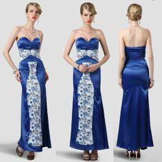 Royal Blue Floral Satin Modern Vintage Long Evening Dress Gown SKU-122865