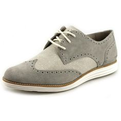 Cole Haan Lunargrand Wing. Tip Women Oxford Shoes ($117) ❤ liked on Polyvore featuring shoes, oxfords, grey, grey shoes, wingtip shoes, suede shoes, suede wingtip shoes and wingtip oxford
