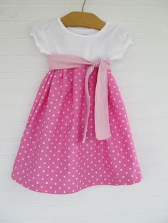 Girl tshirt dress 12M with sash Pink with by ChickadeeStation, $35.00