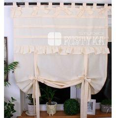 Bawełniana roletka z kokardami na szelkach  firany panelowe ekrany i modne firany szycie firan  firany sklep modne firany  #rideaux #cortinas  #firany #deco #szyjemy #dekoratorka #provensal #okno #stylista #dekoracje #homedecoration #curtains #home #tissu #voilages Chabby Chic, Shabby, Valance Curtains, Home Decor, Curtains, Fabric, Sheer Curtains, Decoration Home, Room Decor