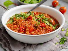 Linsegryte med chili og ingefær Chana Masala, Naan, Frisk, Chili, Salsa, Lose Weight, Food And Drink, Vegetarian, Ethnic Recipes