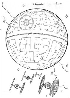free printable death star coloring page...cut and add to a paper plate and hang with yarn.