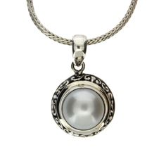 Purple Leopard Boutique - Round Sterling Silver White Pearl Pendant with Bali Design Detail, $44.00 (http://www.purpleleopardboutique.com/round-sterling-silver-white-pearl-pendant-with-bali-design-detail/)