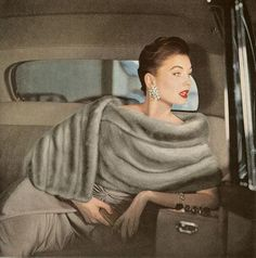 Suzy Parker, glamorous in grey furs.