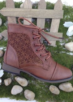Tan Ankle Lace Up Boots