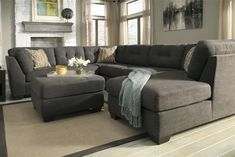 Sofas & Sectionals Contemporary Grey Sectional Sofa Chaise Tufted Back Cushion Three Decorative Throw Pillow Matching Square Ottoman Solid Wood Tapered Legs Polyester Microfiber Upholstery Small Living Room Furniture Exquisite Grey Sectional Sofas Sectional Sofa With Recliner, Fabric Sectional, Living Room Sectional, Chaise Sofa, Gray Sectional, Small Sectional, Modern Sectional, Small Sofa, Lounge Sofa