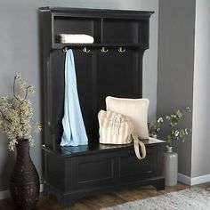 Black Finish Wooden Hall Tree Coat Rack Hat Hooks Storage Stand Entryway Bench Hall Tree With Storage, Entryway Bench Storage, House Interior, Bench With Storage, Entryway, Storage Stand, Home Interior Design, Home Styles, Bathroom Storage Bench
