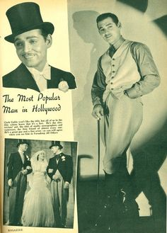 """""""The Most Popular Man In Hollywood"""" - Clark Gable in an article from """"Screen…"""