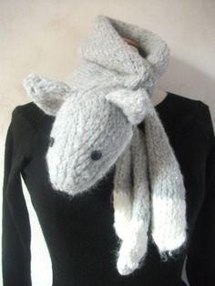 Ness Créative - Echarpe renard, tricotée main
