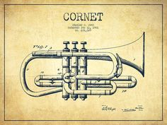 Cornet Poster featuring the drawing Vintage Cornet Patent Drawing From 1901 by…