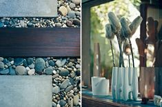 Clever details. The shot on the right shows the threshold from rear courtyard to interior – the pebbles and stone pavers continue from outside into the home. Photography -Jared Fowler, Styling / Production – Lucy Feagins / The Design Files.
