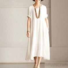 Fine white Short sleeve linen dress summer long dress