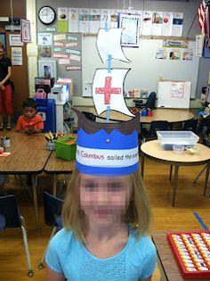 Kinder Learning Garden: We Love This Columbus Day Hat! Kindergarten Units, Kindergarten Social Studies, Kindergarten Crafts, Preschool At Home, Preschool Classroom, Preschool Crafts, First Day Of School, School Fun, School Ideas
