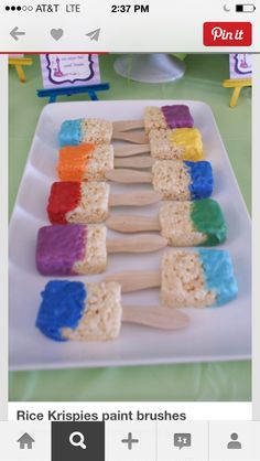 Good class treats rice crispy treats paint brushes