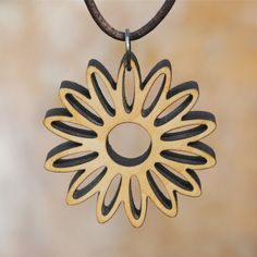 Daisy Flower Laser Cut Wooden Necklace Pendant Statement Jewelry on Etsy, $22.00