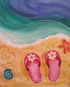 Step by Step beginners acrylic painting flip flops in the sand: