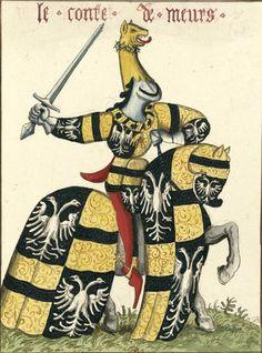 """Frédéric III dit """"Valéran"""", comte de Meurs (Gaignières 1843) -- Aquarelle, d'après «Carousel des chevaliers de l'ordre de la Toison d'or, fait à Bruges aux nopces de Philippe le Bon, duc de Bourgogne, avec l'infante Isabel de Portugal au mois de janvier M.CCC.XXX», ms du cabinet de l'empereur d'Autriche, à Vienne.-- «Le conte de Meurs»"""
