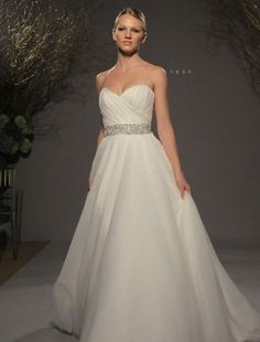 Legends by Romona Keveza - Sweetheart A-Line Gown in Silk Organza. Simplicity with a little bit of bling! Love!