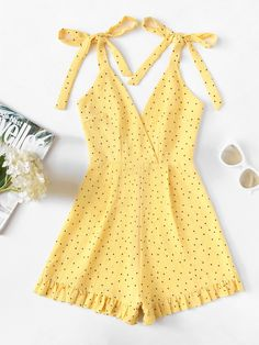ROMWE offers Frill Hem Knot Shoulder Cami Romper & more to fit your fashionable needs. Girls Fashion Clothes, Summer Fashion Outfits, Cute Summer Outfits, Pretty Outfits, Trendy Fashion, Girl Outfits, Cute Outfits, Summer Dresses, Summer Shoes