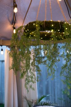 Moss wreath chandelier DIY