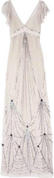 ALICE   TEMPERLEY LONDON Ella Sequined  Cobwebs & ailk threads Chiffon Gown - Lyst