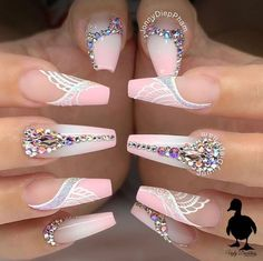 Bling Acrylic Nails, Glam Nails, Best Acrylic Nails, Dope Nails, My Nails, Coffin Nails, Pink Coffin, Cute Acrylic Nail Designs, Beautiful Nail Designs