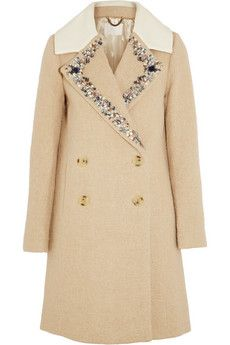 J.Crew Collection embellished wool-blend coat