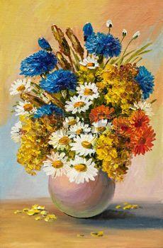 Peinture � l'huile de fleurs de printemps dans un vase sur la toile. Dessin abstrait, color�, d�coration, design photo