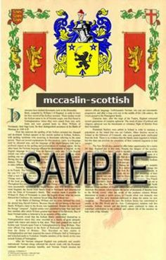 Amazon.com: MCCASLIN Origin: SCOTTISH - Armorial Name History & Coat of Arms Scroll - 11 x 17 inches (A3) - Family Crest - Genealogy - Heral...