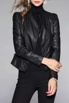 WLZD PU Leather Biker Jacket