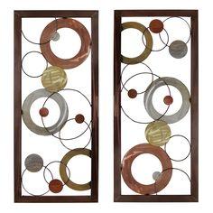 Stratton Home Decor Multi Circle Panel Metal Wall Art