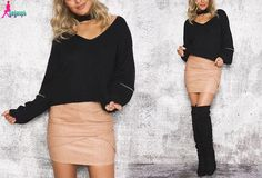 Gagaopt Autumn/ Winter 4 Color Halter Knitted Sweater V-neck Sexy Loose Open Zipper Sleeve Pull Femme Tricot Pullover Jumper