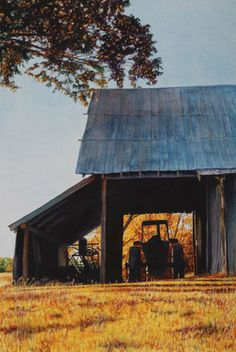 See the Story in this Landscape Watercolor Painting > 'Barn with Tractor' by Laurin McCracken   ArtistsNetwork.com #landscape #watercolor #painting