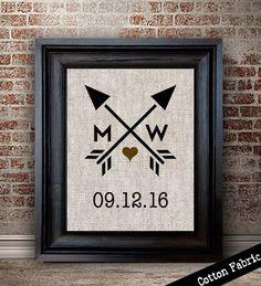 Cotton Anniversary Gift Heart and Arrow Print Wedding