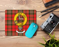 Rubber mousepad with Scott clan crest and tartan  - only from ScotClans
