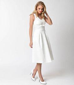Voodoo Vixen 1950s Style White Lace Monroe Bridal Swing Dress
