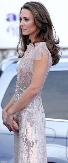 Kate Middleton aka Duchess of Cambridge wearing Jenny Packham & carrying Prada clutch at annual ARK dinner. June 9, 2011.