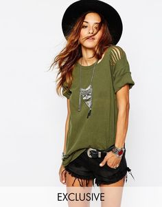 Milk It | Milk It Vintage Longline Military T-Shirt with Distressing at ASOS
